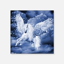 "Sparkling White Pegasus Square Sticker 3"" x 3"""