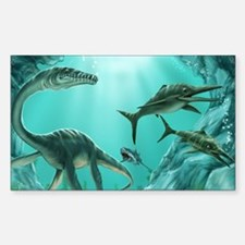 Underwater Dinosaur Sticker (Rectangle)