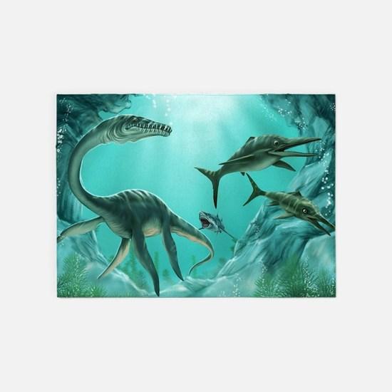 Underwater Dinosaur 5'x7'Area Rug