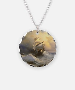 Stormy Frigate Painting Necklace