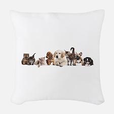 Cute Pet Panorama Woven Throw Pillow