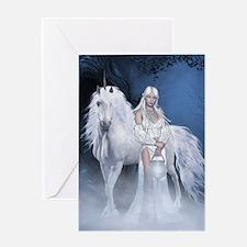 White Lady and Unicorn Greeting Card