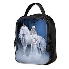 White Lady and Unicorn Neoprene Lunch Bag