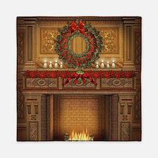 Christmas Fireplace Queen Duvet