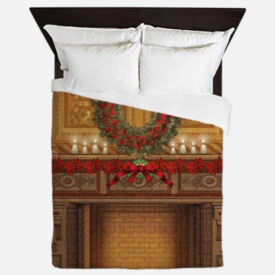 Christmas Fireplace Queen Duvet