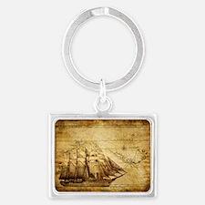 Old Ship Map Landscape Keychain