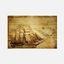 Old Ship Map Rectangle Magnet