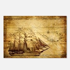 Old Ship Map Postcards (Package of 8)