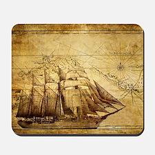 Old Ship Map Mousepad