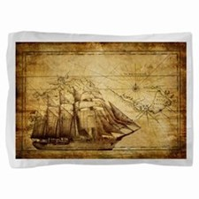 Old Ship Map Pillow Sham