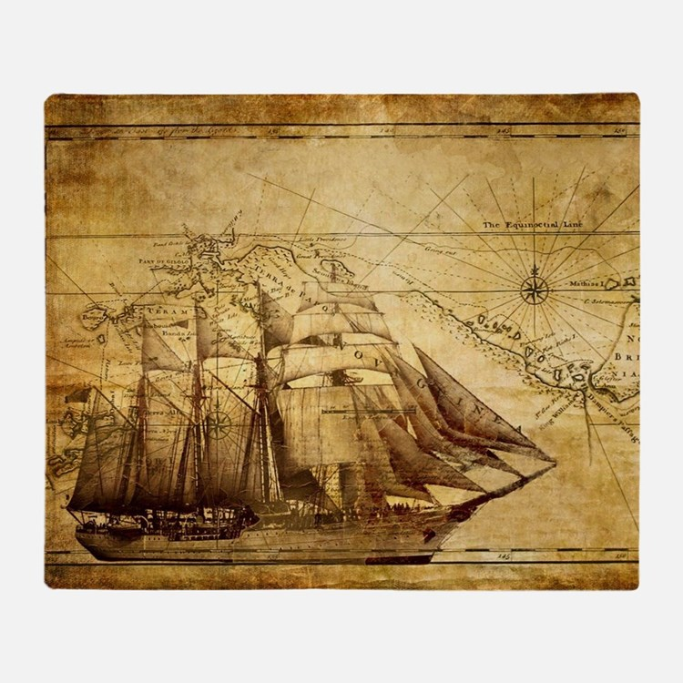Old Ship Map Throw Blanket