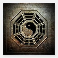 """Yin Yang Bagua Square Car Magnet 3"""" x 3"""""""