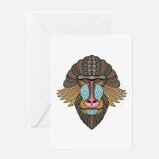 Tribal Baboon Greeting Cards
