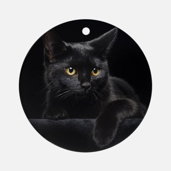 Black Cat Round Ornament