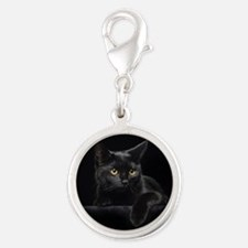 Black Cat Silver Round Charm