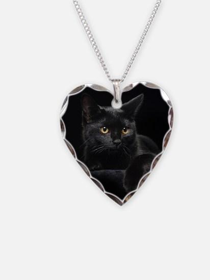 Black Cat Necklace Heart Charm