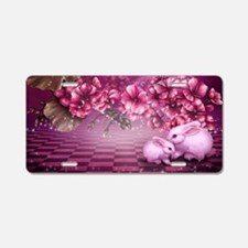 Pink Easter Rabbits Aluminum License Plate