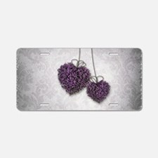 Purple Hearts Aluminum License Plate