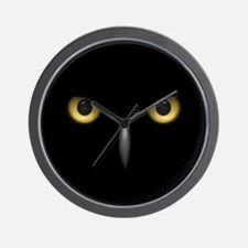 Owl Eyes Lurking In The Dark Wall Clock