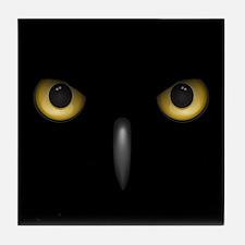 Owl Eyes Lurking In The Dark Tile Coaster