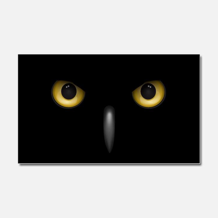 Owl Eyes Lurking In The Dark Car Magnet 20 x 12