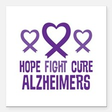 """Alzheimers Hope Fight Cure Square Car Magnet 3"""" x"""