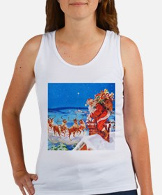 Santa and His Reindeer Up On a Sn Women's Tank Top