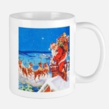 Santa and His Reindeer Up On a Snowy Ro Mug