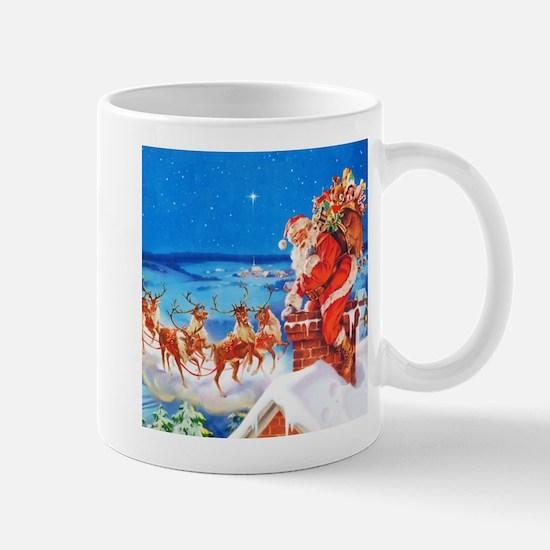 Santa and His Reindeer Up On a Snowy Ro Mug