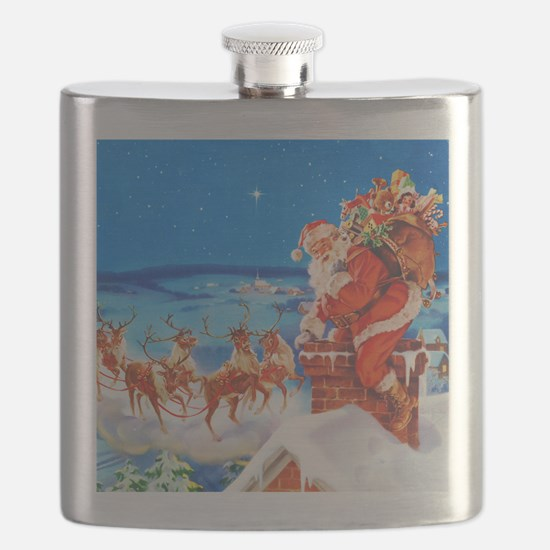 Santa and His Reindeer Up On a Snowy Rooftop Flask
