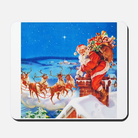 Santa and His Reindeer Up On a Snowy Roo Mousepad