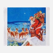 Santa and His Reindeer Up On a Snowy Throw Blanket