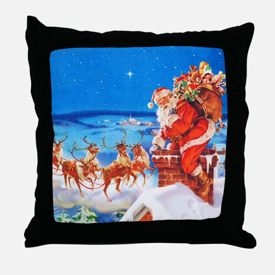 Santa and His Reindeer Up On a Snowy Throw Pillow