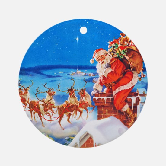 Santa and His Reindeer Up On a Snow Round Ornament