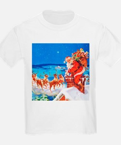 Santa and His Reindeer Up On a T-Shirt