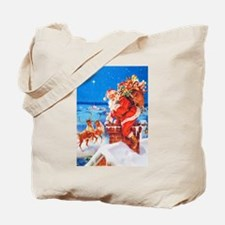 Santa Claus and His Reindeer Up On a Snow Tote Bag