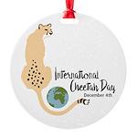 International Cheetah Day Round Ornament