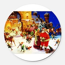 Santa and Mrs. Claus At The North Round Car Magnet