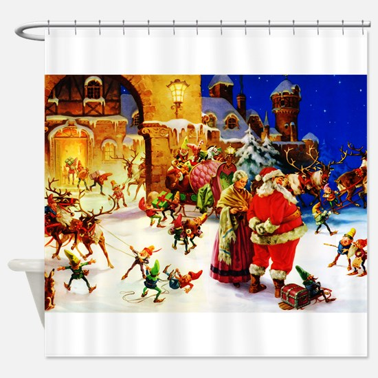 Santa and Mrs. Claus At The North P Shower Curtain