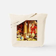 Santa Claus Baking Christmas Cookies with Tote Bag