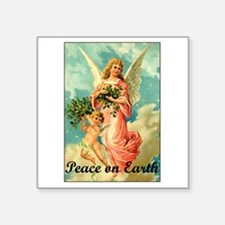 "Funny Earth angel Square Sticker 3"" x 3"""