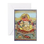 Ganesh Seated on Cushion Greeting Cards (Pk of 20)