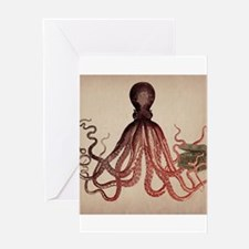Vintage Octopus on Aged Parchment Greeting Cards