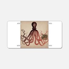 Vintage Octopus on Aged Par Aluminum License Plate