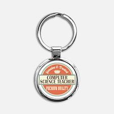 computer science teacher vintage lo Round Keychain