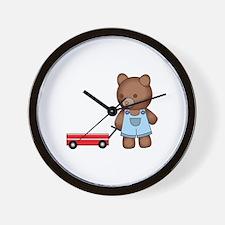 Boy Teddy Bear Wall Clock