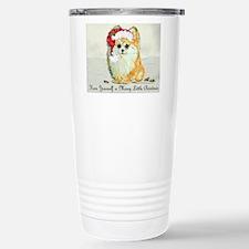 Cute Santa claus and pomeranian Travel Mug