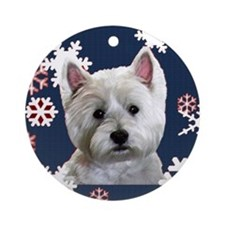 Cute Westie christmas Round Ornament