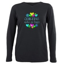 Cute Quilting Plus Size Long Sleeve Tee