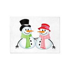Happy Snow Couple 5'x7'Area Rug